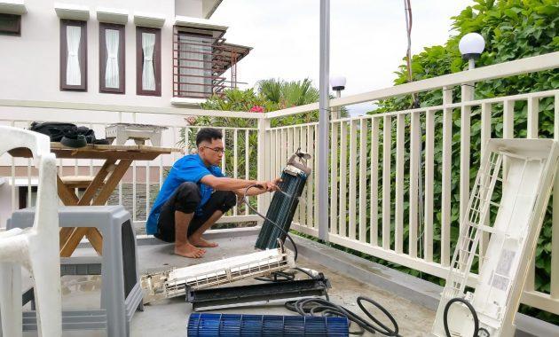 cuci turun besar AC outdoor